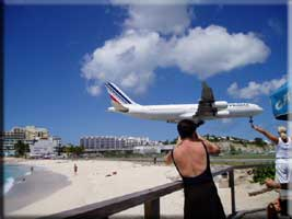 Air France landing at Maho St Martin Beaches St Maarten Beaches Sint Maarten Beaches Saint Martin Beaches